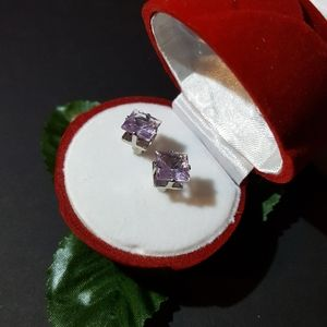 Lavender Crystal Earrings Studs, Unisex 7mm